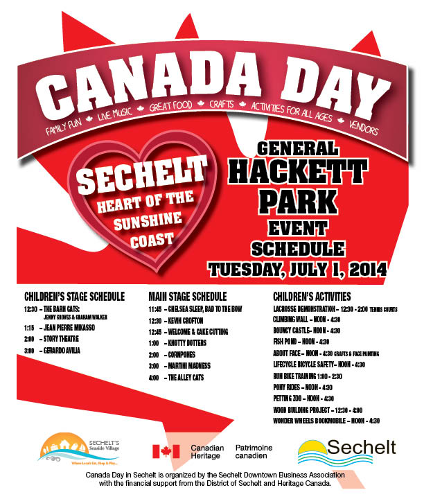 Canada Day Hacket Park Main Stage Sched